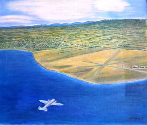 Oleo de Jorge Pérez S. representando aproximación de avión Electra al aeródromo de Bahia Catalina.